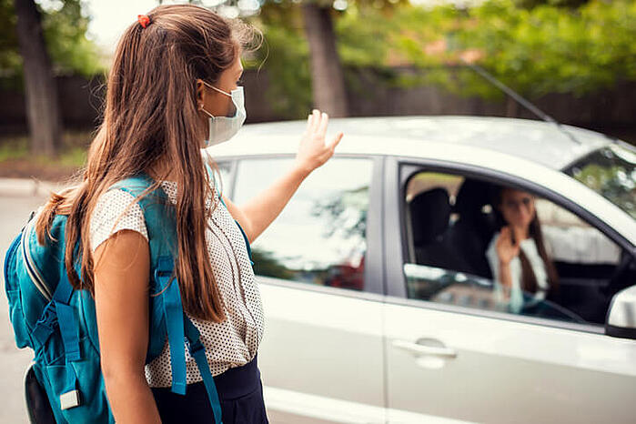 Teen being dropped off at test center