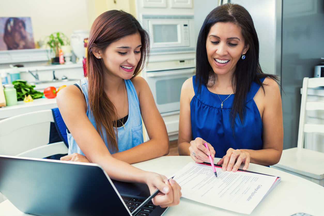 Parent Helping Student with College Application