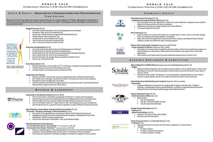 Example of a debate resume for college admissions