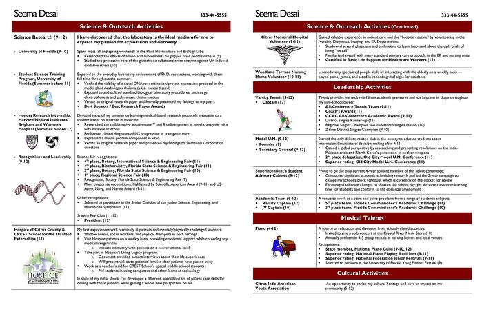 example of a medical focused resume for college admissions