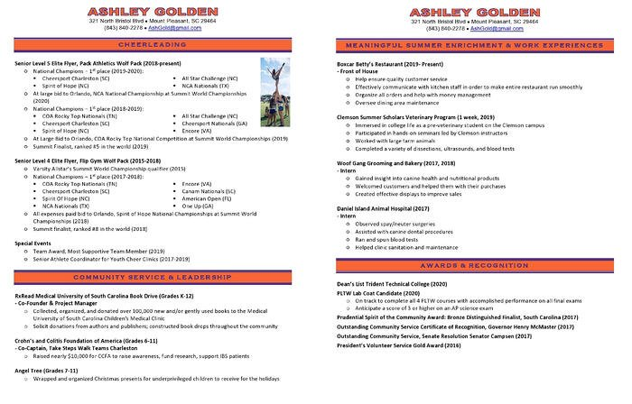 Example of a cheerleading resume for college applications