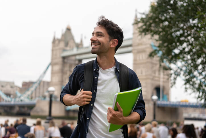 student studying in london