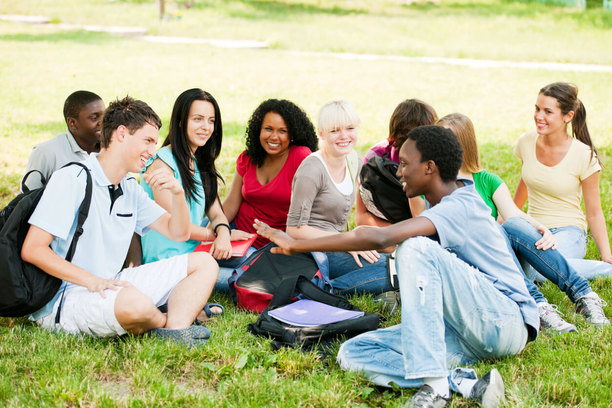 students socializing on lawn